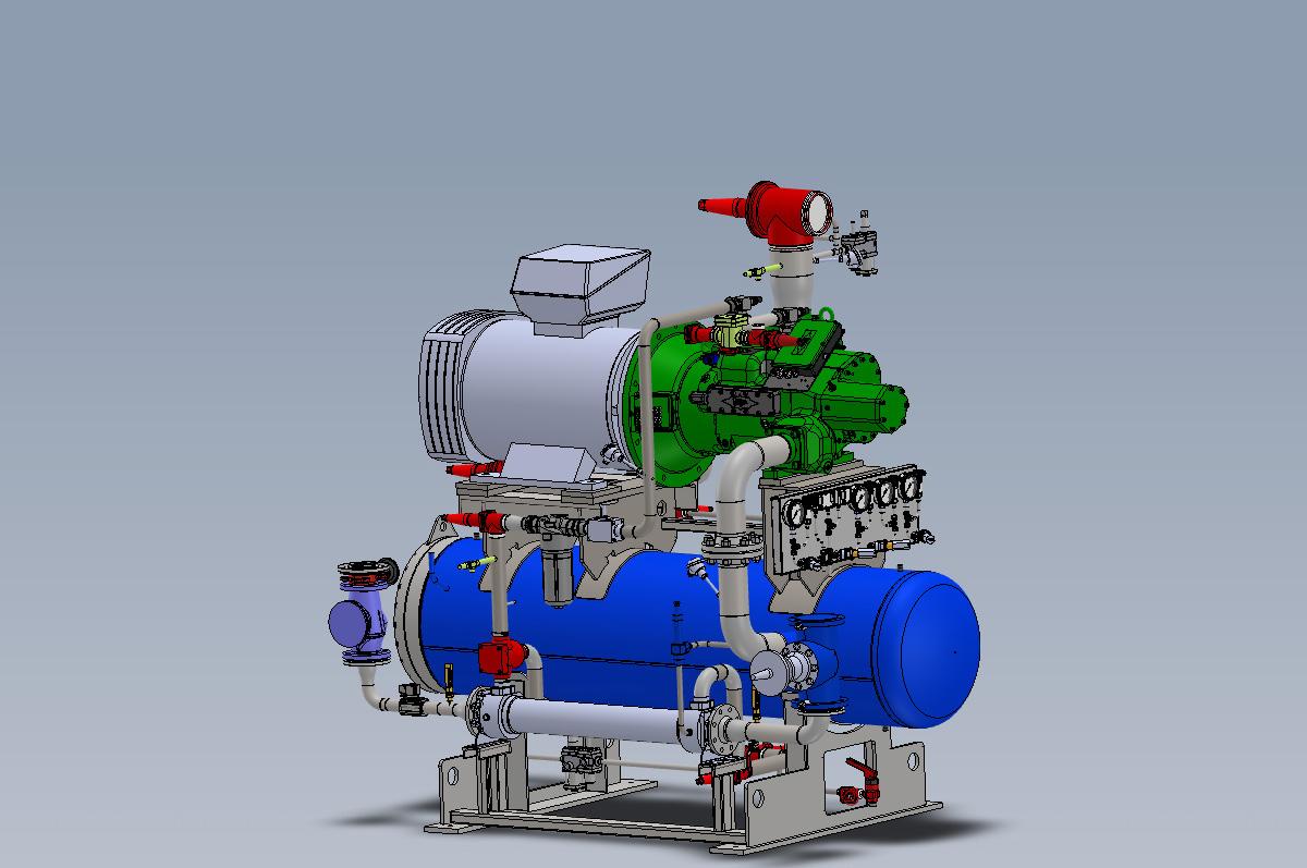 Vista 3D Unidad compresora NH3 con separador y enfriador de aceite