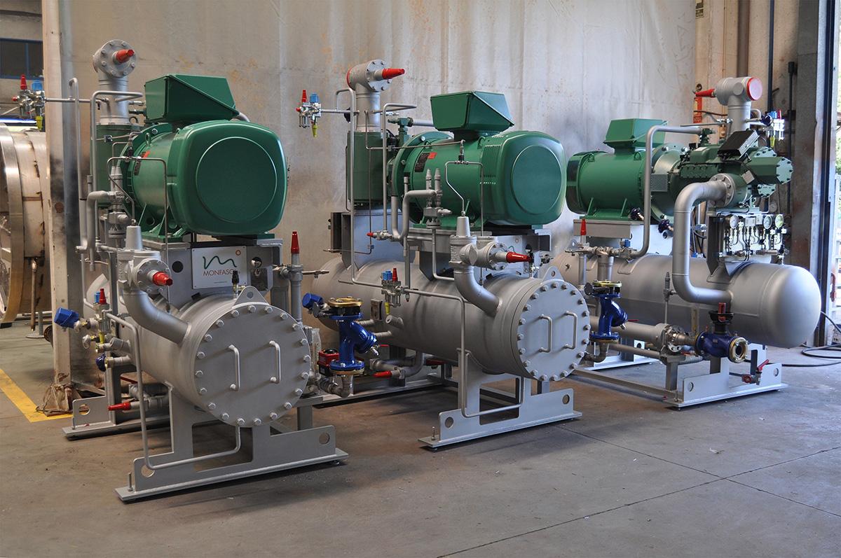 Unidad compresora NH3 con separador y enfriador de aceite